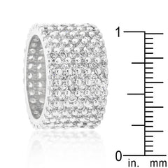 Rhodium Plated Finishd Wide Pave Cubic Zirconia Ring