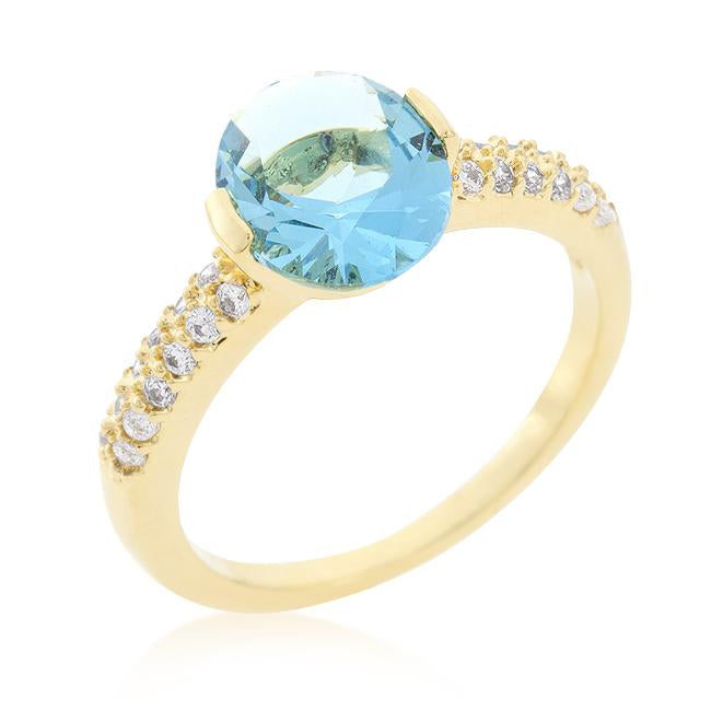 Aqua Oval Cubic Zirconia Engagement Ring