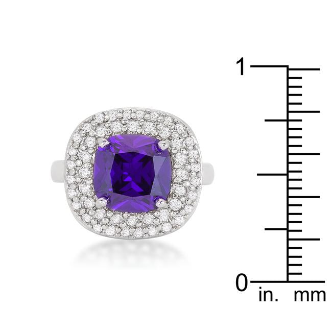 Micropave Purple Bridal Cocktail Ring