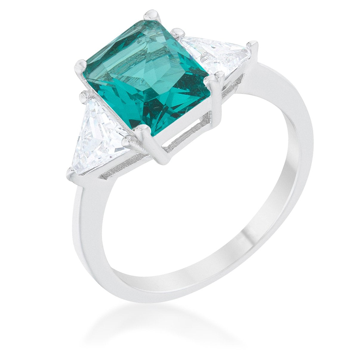 Classic Aqua Rhodium Engagement Ring