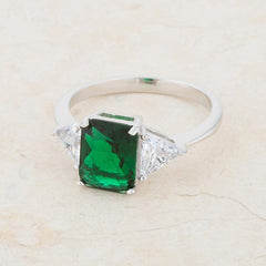 Classic Emerald Rhodium Engagement Ring