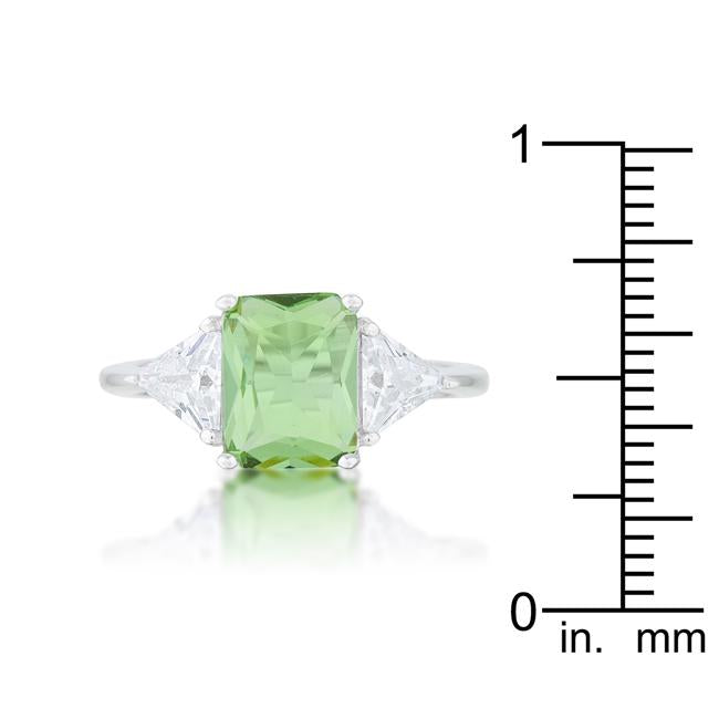 Classic Apple Green Rhodium Engagement Ring