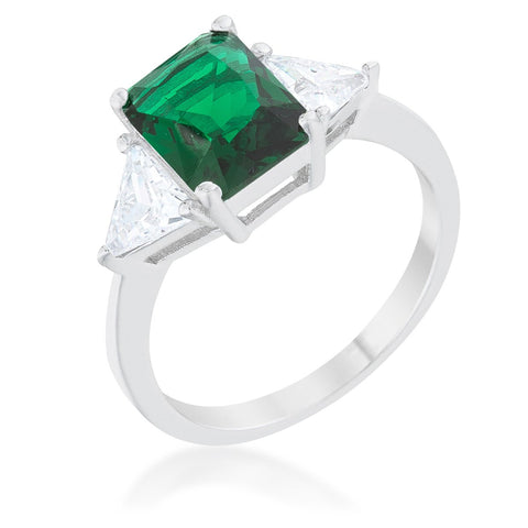 Classic Emerald Green Sterling Silver Engagement Ring