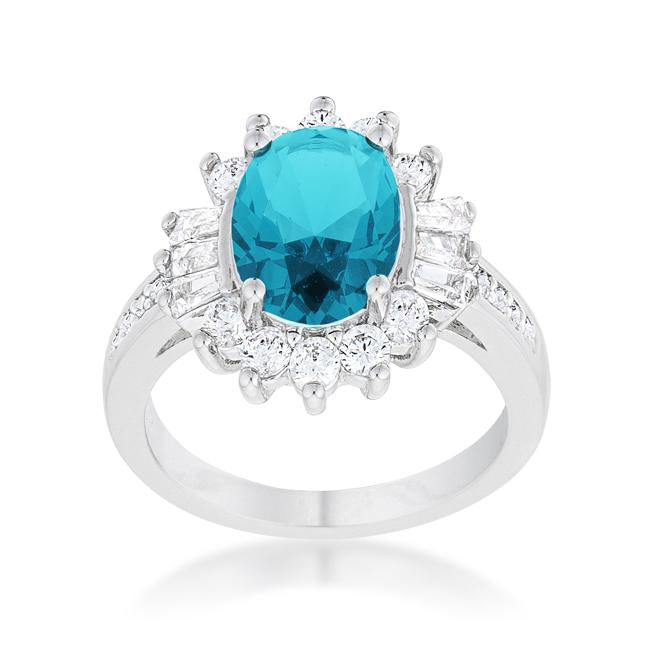 Chrisalee 3ct Aqua CZ Rhodium Classic Ring