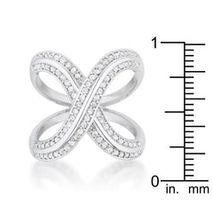 Christa 0.4ct CZ Rhodium Pave X Ring