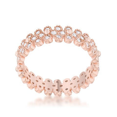 Clara 1ct CZ Rose Gold Textured Bezel Set Eternity Ring