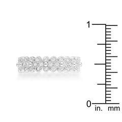 Clara 1ct CZ Rhodium Textured Bezel Set Eternity Ring