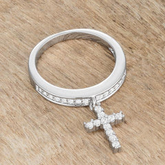 Christine 0.2ct CZ Rhodium Cross Charm Ring