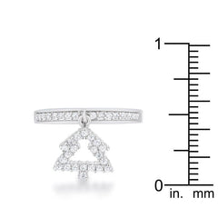 Christmas Tree 0.3ct CZ Rhodium Holiday Charm Ring