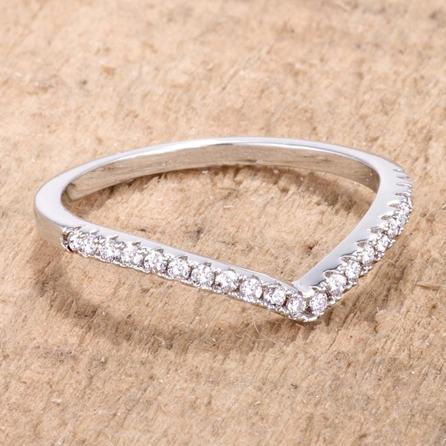 .22Ct Rhodium Chevron Ring with CZ