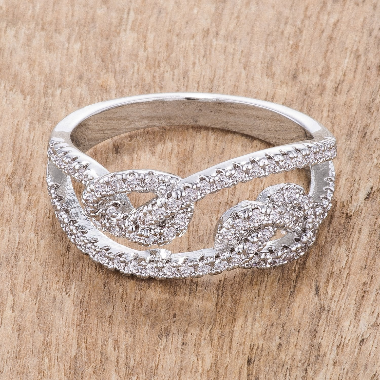 1.15Ct Rhodium Plated CZ Pave Double Knot Ring