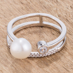 .15Ct Rhodium Plated CZ and Freshwater Pearl Contemporary Double Band Ring
