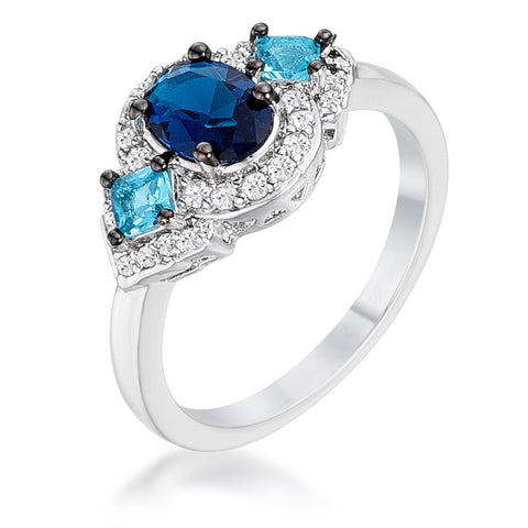 1.3Ct Rhodium and Hematite Plated Shades of Blue CZ Three Stone Engagement Ring