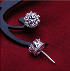 Sterling Silver Crown CZ Diamond Earrings