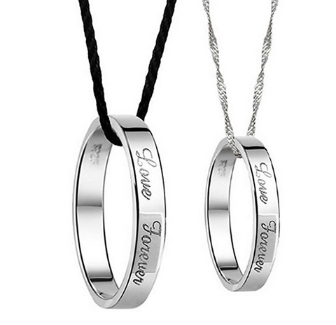 Engraved Express Love Forever Couple Necklace Set