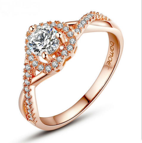 Rose Gold Pave Heart Shape Ring