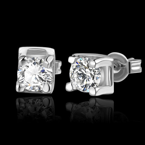 White Gold Asscher Cut Stud Earrings
