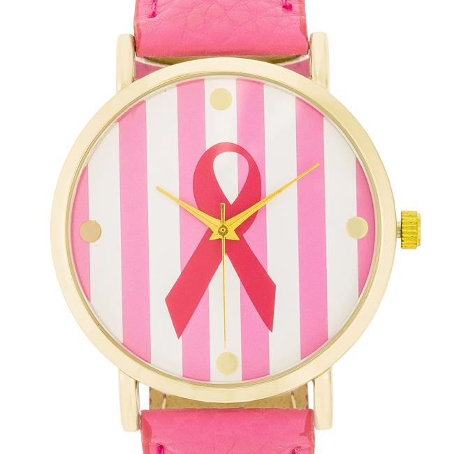 Breast Cancer Awareness Pink Leather Watch
