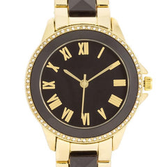 Black And Gold Metal Crystal Watch