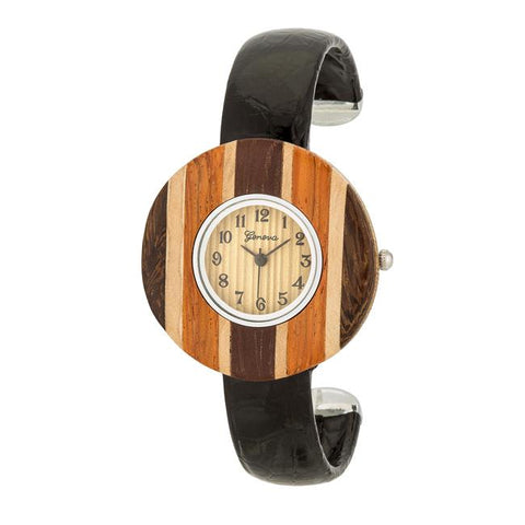 Brenna Black Wood Inspired Leather Cuff Watch