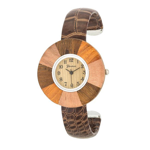 Brenna Dark Brown Wood Inspired Leather Cuff Watch