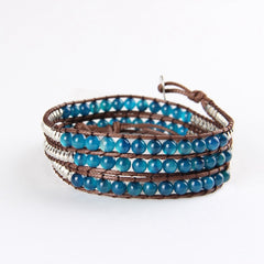 Blue Mix Agate Wrap Bracelet