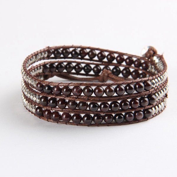 Dark Brown And Silver Mix Wrap Bracelet
