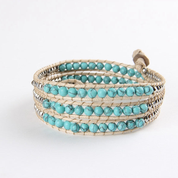 Light Turquoise Mix Wrap Bracelet