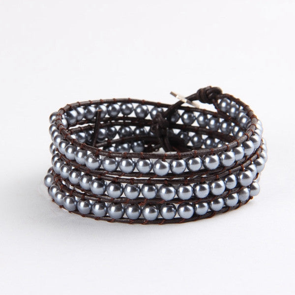 Dark Silver Mix Wrap Bracelet