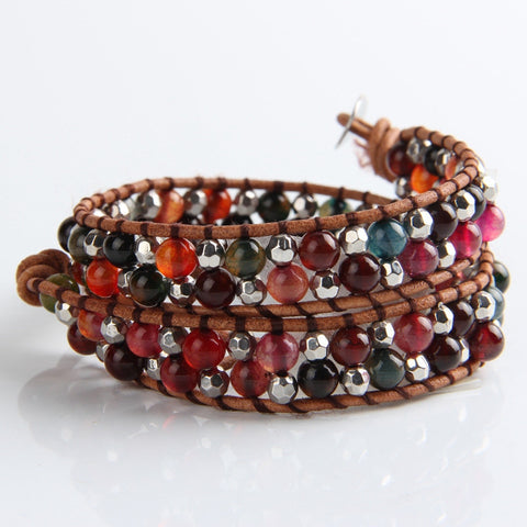 Brownstone And Silver Mix Wrap Bracelet