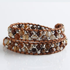 Coffee Agate And Silver Mix Wrap Bracelet