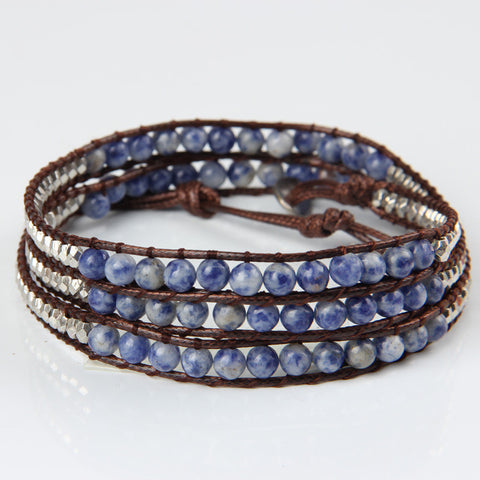 Blue Stripe Mix Wrap Bracelet