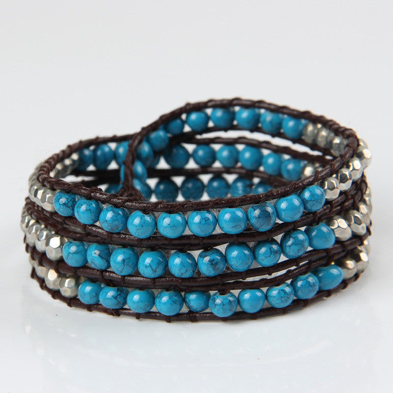 Dark Blue Turquoise Mix Wrap Bracelet