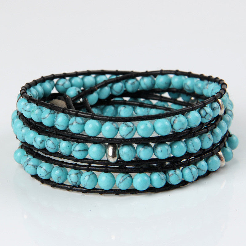 Turquoise With Sliver Beads Wrap Bracelet