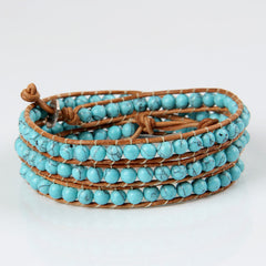 Light Blue Turquoise Wrap Bracelet