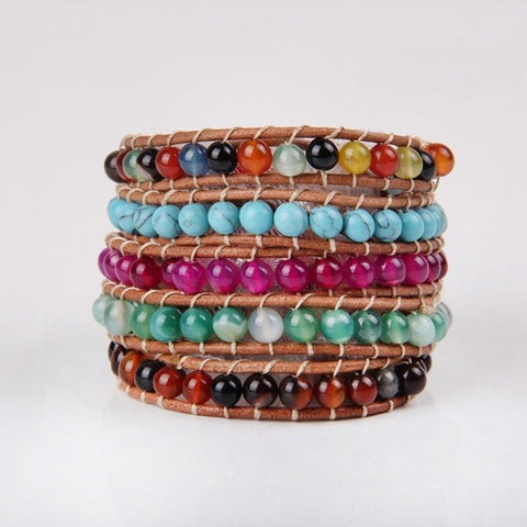 Rustic Colorful Beaded Wrap Bracelet