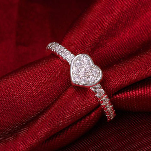 Insets Single Heart Silver Ring