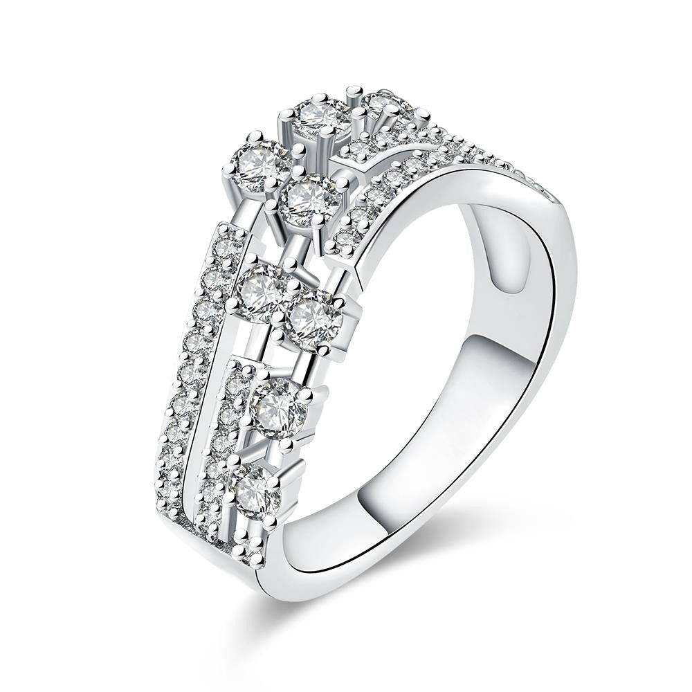 Three Flow Line White Gold Plated Ring
