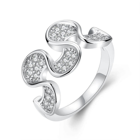 Wavy White Gold Plated Ring