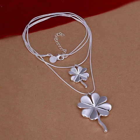 Four Leaves Clover Silver Necklace