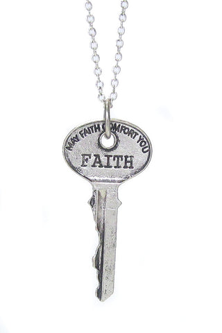 Handstamped Faith Key Pendant Necklace