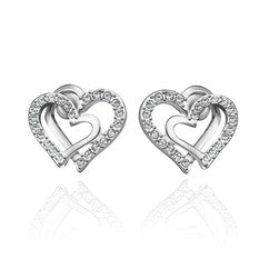 Love me Two Hearts White Gold Stud Earrings