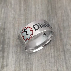 Medical Alert ID Sterling Silver Band Ring