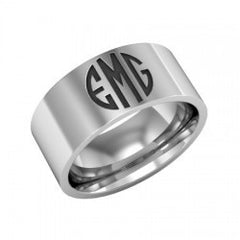 Monogram Initials Silver Band Ring