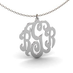 Monogram Initials Sterling Silver Necklace
