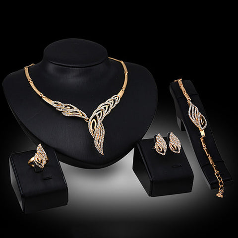 Golden Bohemian Rhinestone Necklace Set