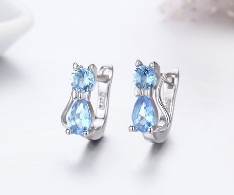 Kitty Cat CZ 925 Sterling Silver Huggie Earrings