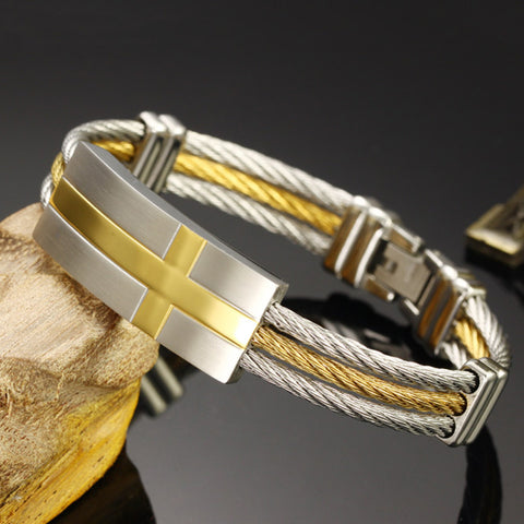 Mens Stainless Steel Wire Cross Bracelet