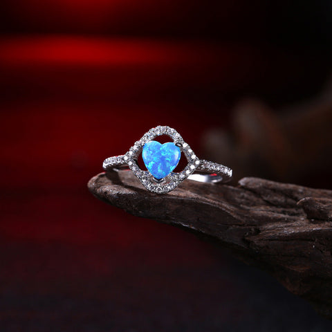 Blue Crystal Opal Ring