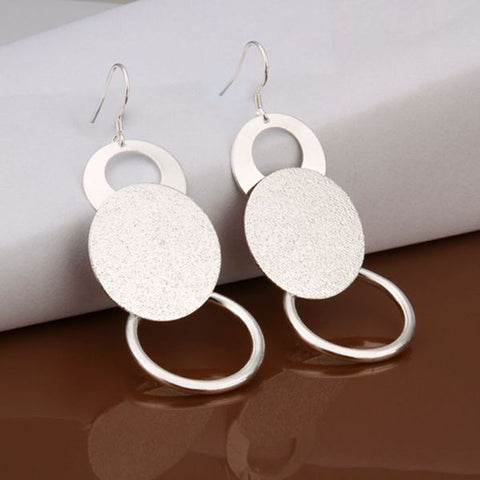 Sandy Circle Silver Earring